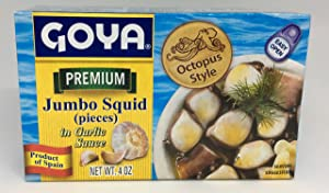 Jumbo Squid Pieces In Garlic Sauce 4 Ounce (Pack of 3) by Goya
