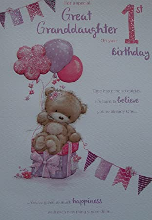 For a wonderful great granddaughter on your 1st birthday card for a wonderful great granddaughter on your 1st birthday card bookmarktalkfo Gallery