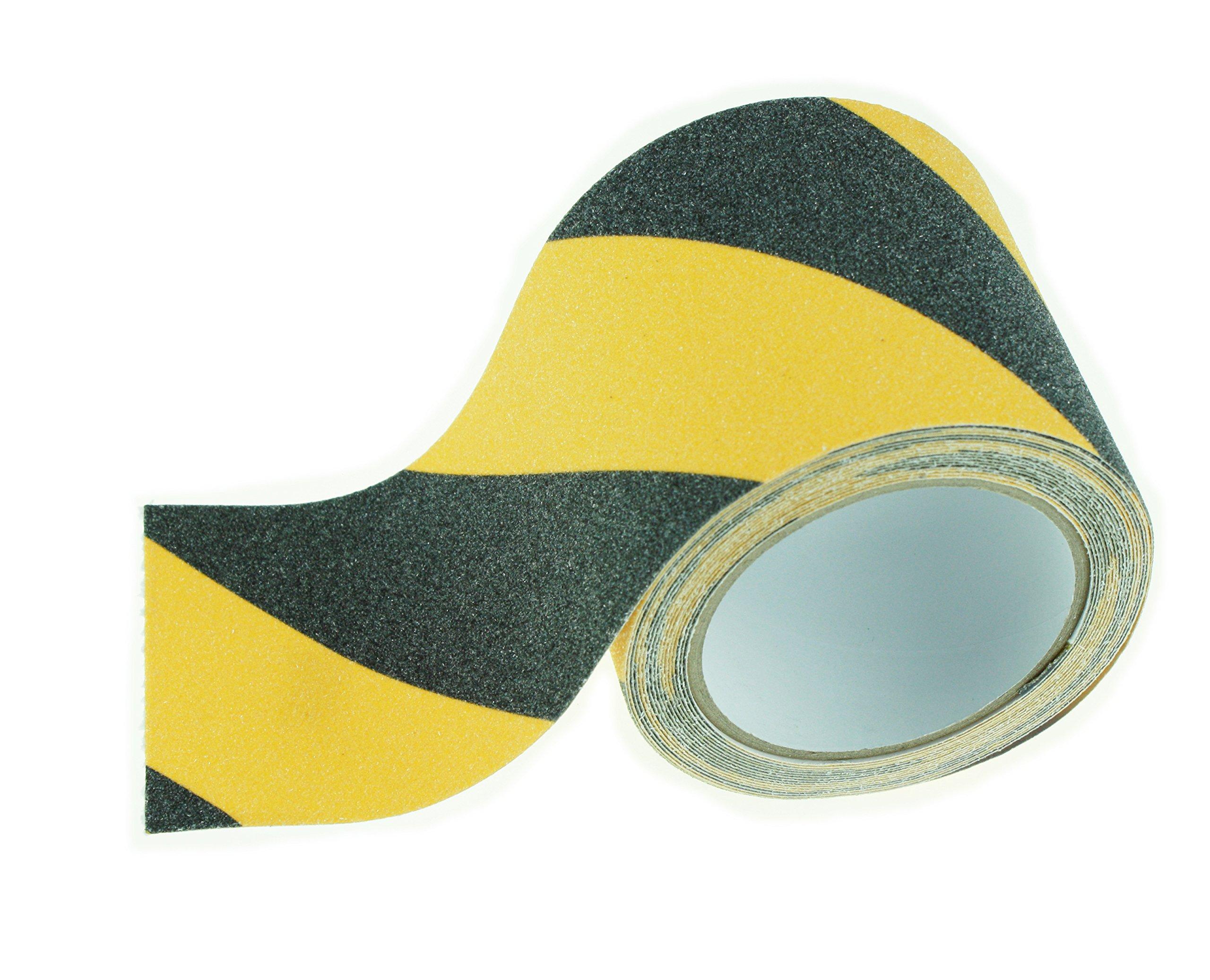 Non-slip Safety Adhesive Tape with Anti-slip Grit (WxL 4''x16', Black/Yellow)