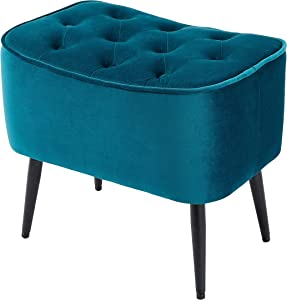 BIRDROCK HOME Tufted Curve Teal Ottoman – Velvet Foot Stool – Mid Century Modern Steel Legs - Soft Compact Padded Stool - Living Room or Bedroom – Vanity Chair - Decorative Furniture