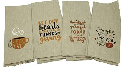Amazon Com Set Of 4 Dark Linen Thanksgiving Kitchen Towels Gift Set