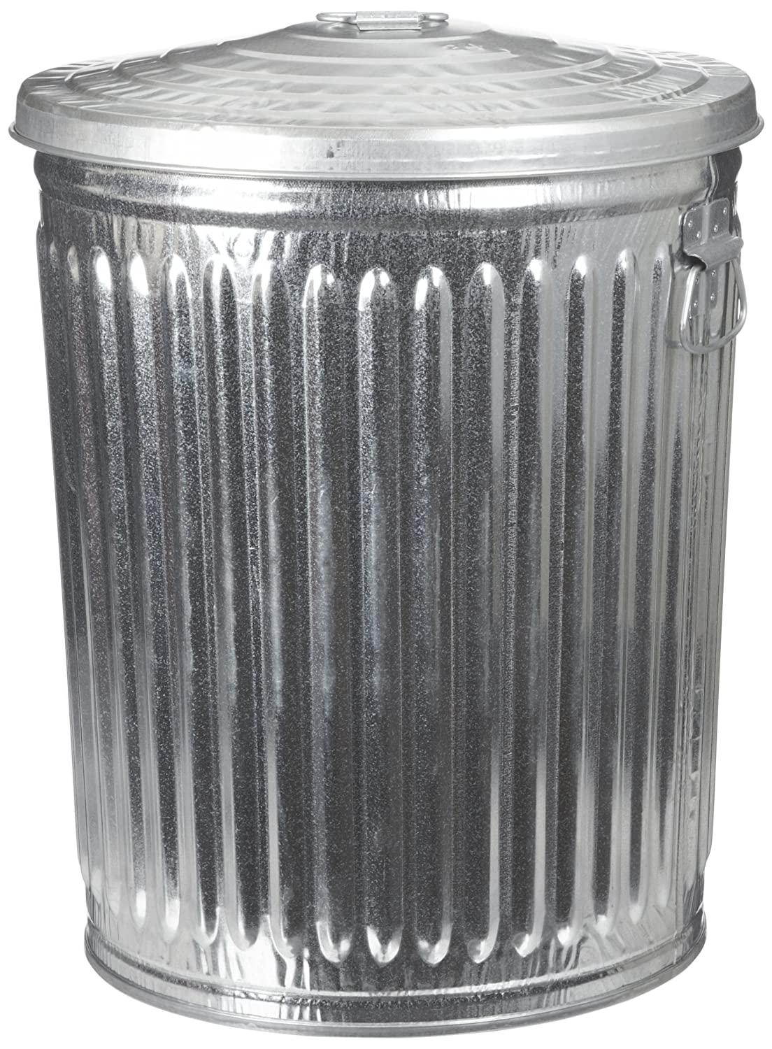 "Witt Industries WCD32CL Galvanized Steel 32-Gallon Light Duty Trash Can with Lid, Round, 21-1/4"" Diameter x 27-1/2"" Height"