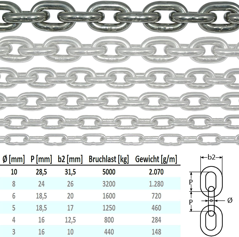 NietFullThings Edelstahl-Kette V4A kurz-gliedrig vielen Laengen und Staerken am Stueck Anker-Kette DIN 5685 DIN 766-Meterware rostfrei NIRO INOX Gliederkette Absperrkette Bojenkette