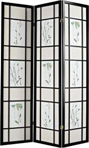 ACME 0 3-Panel Black Wood Screen