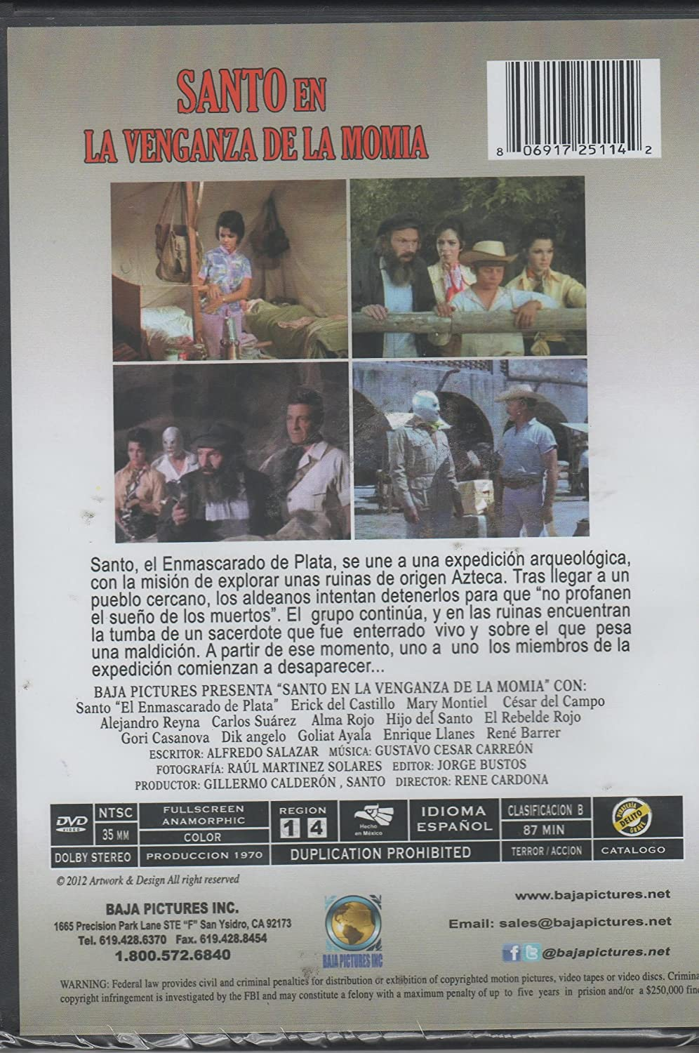 Amazon.com: Santo En La Venganza De La Momia [Ntsc/region 1 and 4 Dvd. Import - Latin America]: ERIC DEL CASTILLO & MARY MONTIEL: Movies & TV