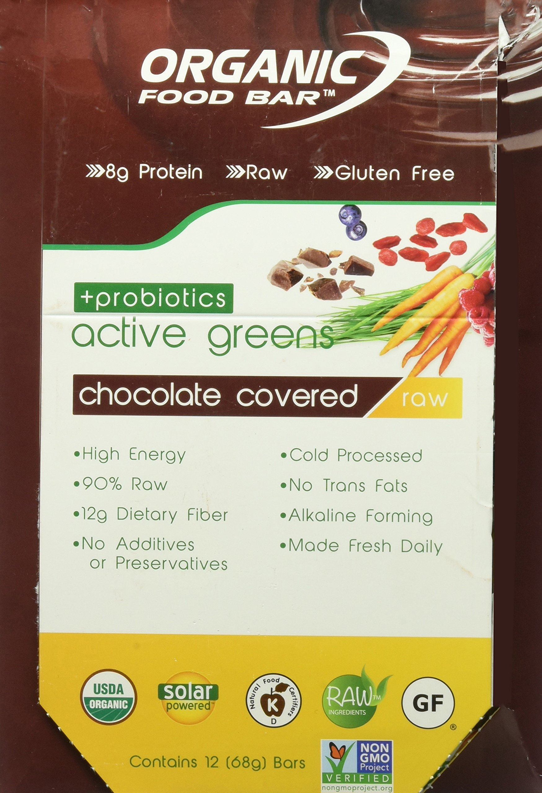 Organic Food Bar - Active Greens Probiotic Chocolate Covered Bars, USDA Organic Active Greens Bar with Superfood Blend with Powerful Antioxidants (Pack of 12) by Organic Food Bar