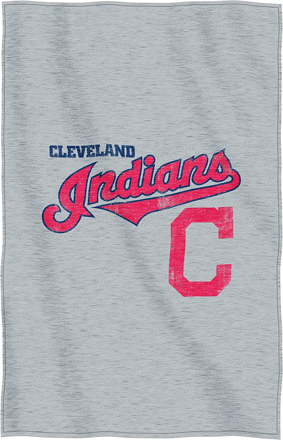 """Officially Licensed MLB Cleveland Indians """"Script"""" Sweatshirt Throw Blanket, 54"""" x 84"""", Multi Color"""