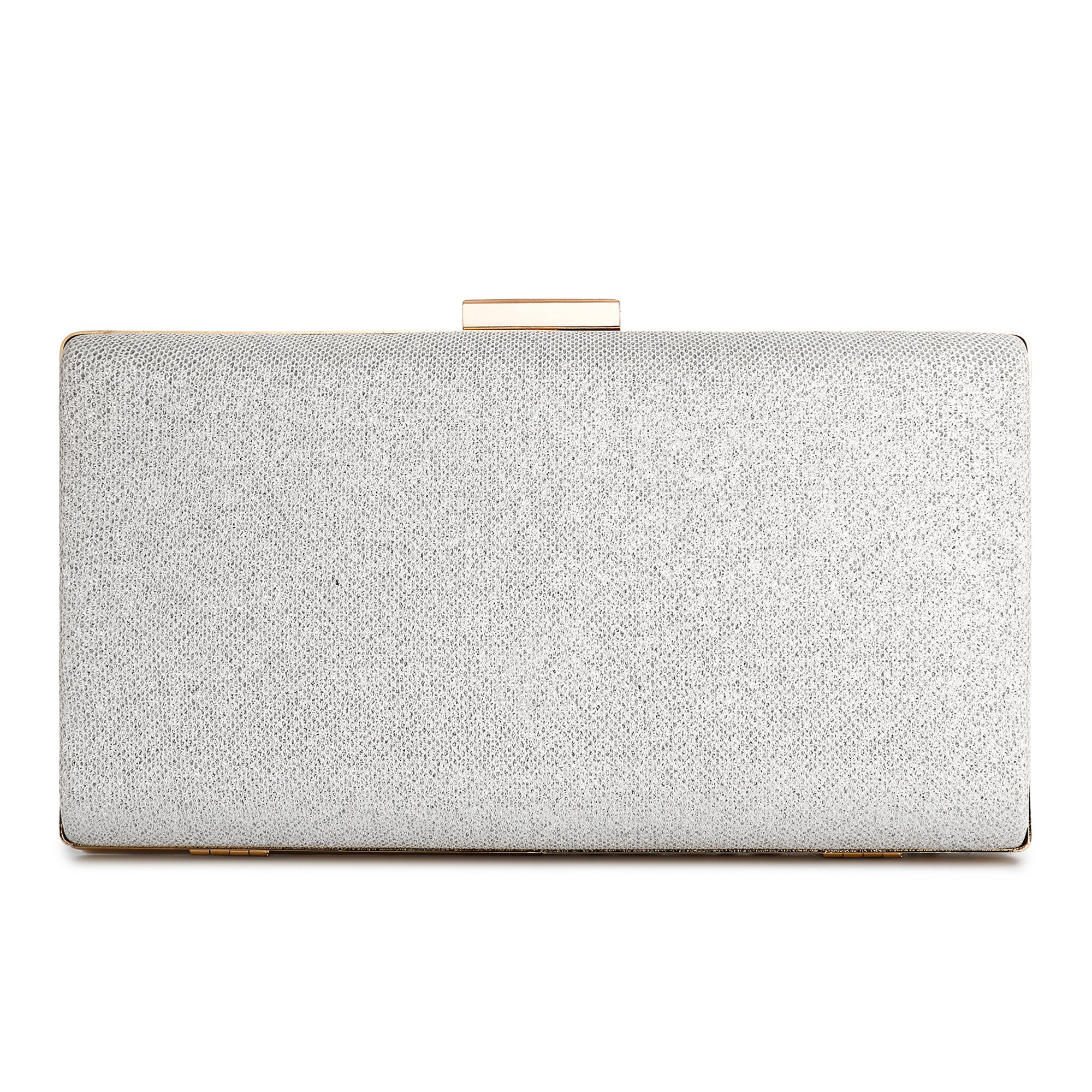 Minicastle Large Womens Noble Evening Clutch Bag Wedding Purse Bridal Prom Handbag Party Bag Silver by Minicastle (Image #2)