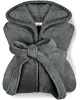 extra weicher Kapuzen-Bademantel aus Kuschelfleece - erhältlich in 11 modernen Farben und 5 Größen - unisex & wadenlang