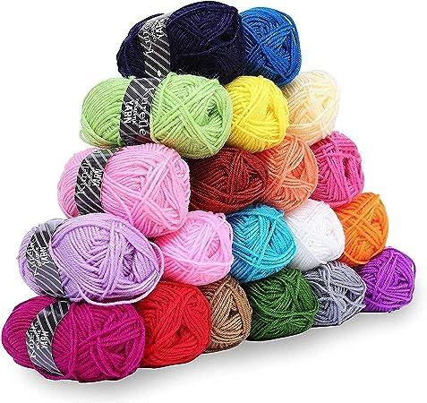 Pack de 20 Madejas Hilo de tejer/Hilo Acrilico - Perfecto para Crochet y Tejer - Acrílicos Skeins en una variedad de colores - 40 Metros Hilo de Acrílico 20 x 25g: Amazon.es: Hogar