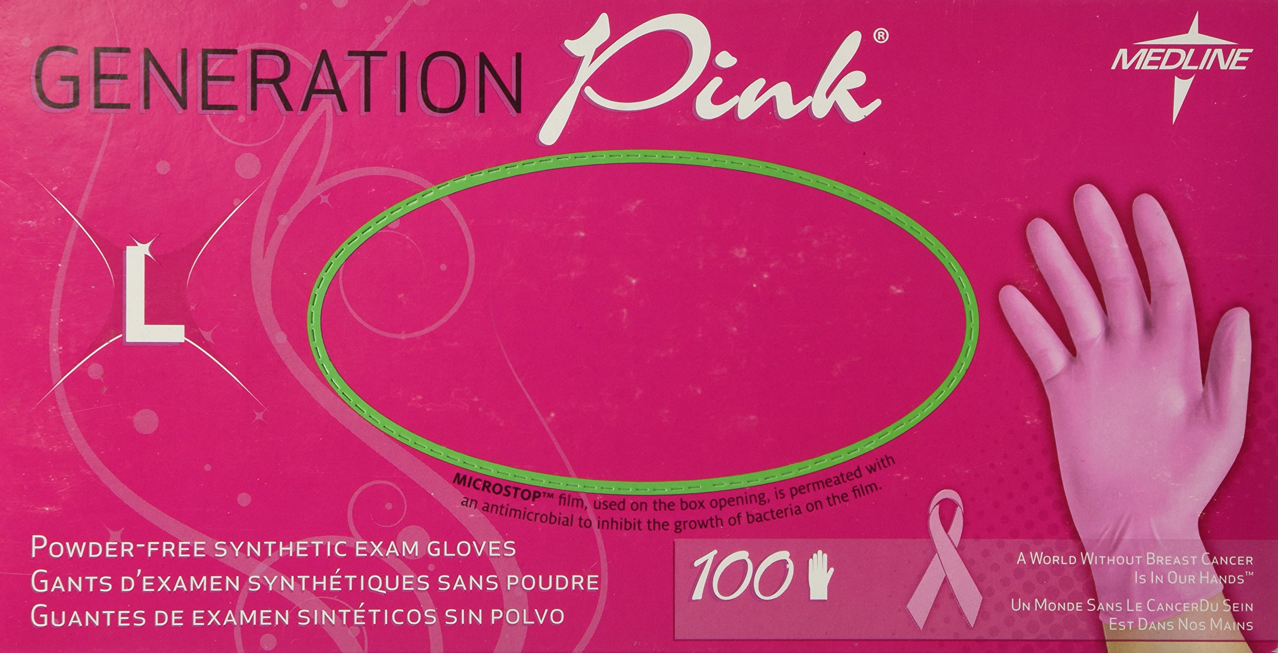 Generation Pink Stretch Vinyl Exam Gloves - Large - Box of 100