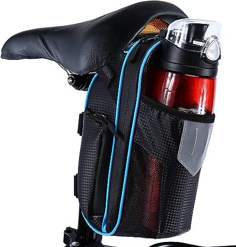 Selighting Bolsa de Sillin Bicicleta, Bolsa Bicicleta Montaña Alforja Bolsa Trasera Bicicleta Impermeable con Compartimento Botella (Azul): Amazon.es: Deportes y aire libre
