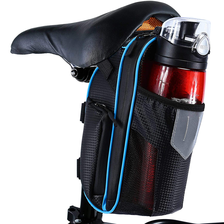 Selighting Bike Saddle Bag Waterproof Mountain Road MTB Bike Seat Pack with Water Bottle Pockets Holder//Reflective Stripes