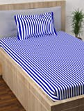 Story@Home Single Bedsheet for Single Bed with 1 Pillow Cover Combo Set - 100% Cotton - Spark Series, 208 TC, Stripes (White - Blue)