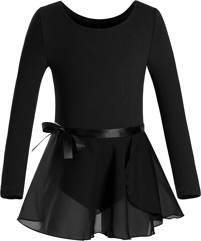 DANSHOW Girls Team Basic Long Sleeve Leotard with Skirt Kid Dance Ballet Tutu Dress: Clothing