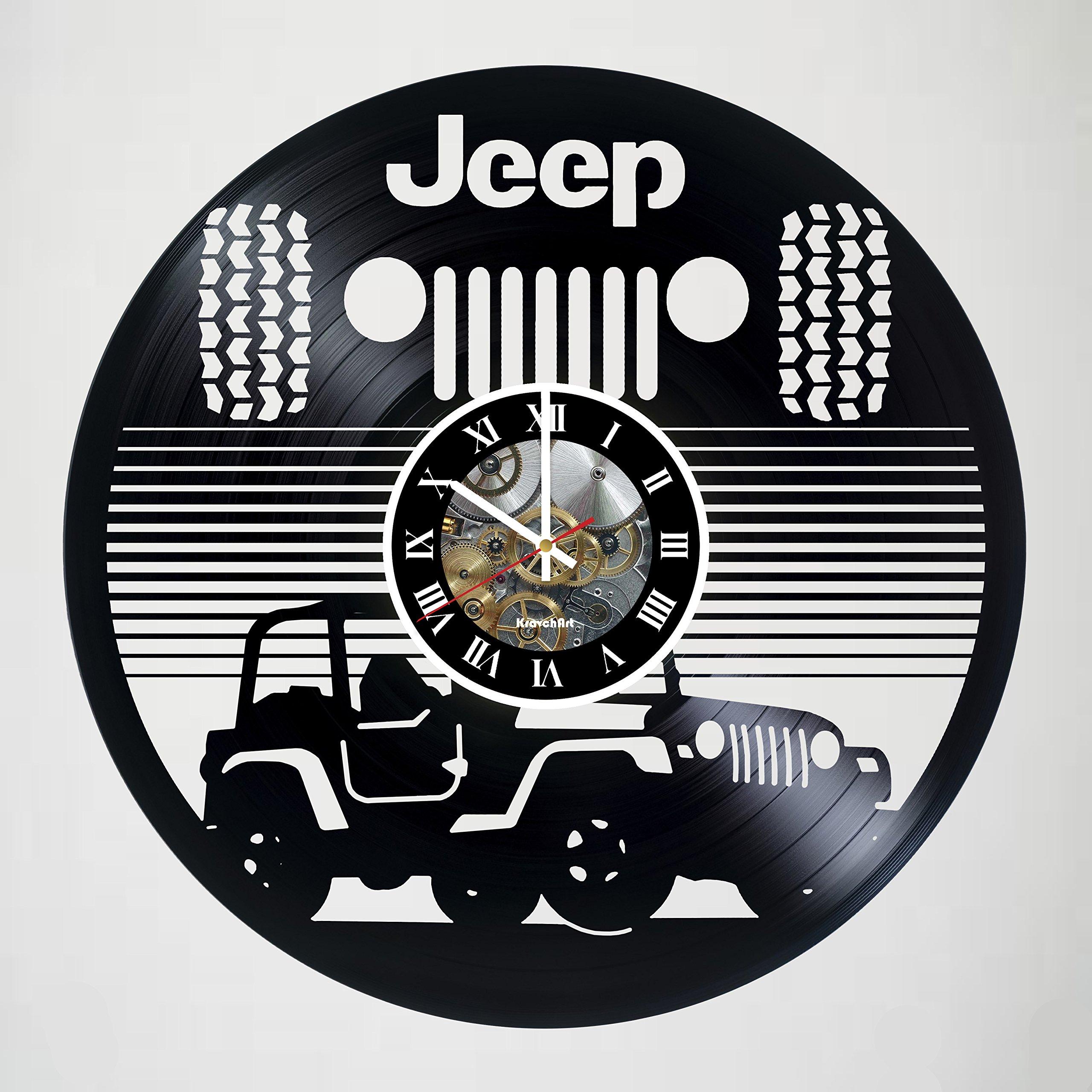 Jeep Automobile - vinyl wall clock - handmade artwork home bedroom living kids room nursery wall decor great gifts idea for birthday, wedding, anniversary