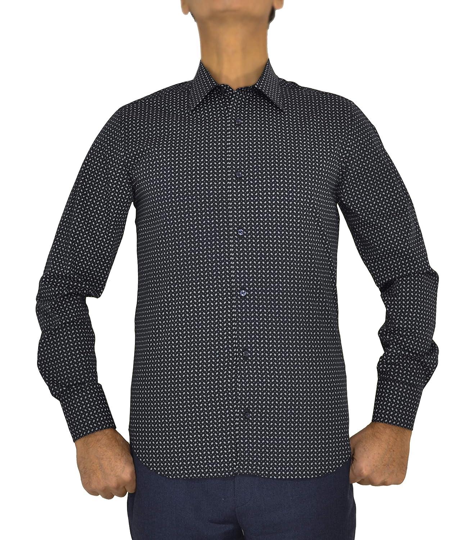 E. MECCI Camisa de Hombre 100% algodón Estampado Slim Fit Manga ...
