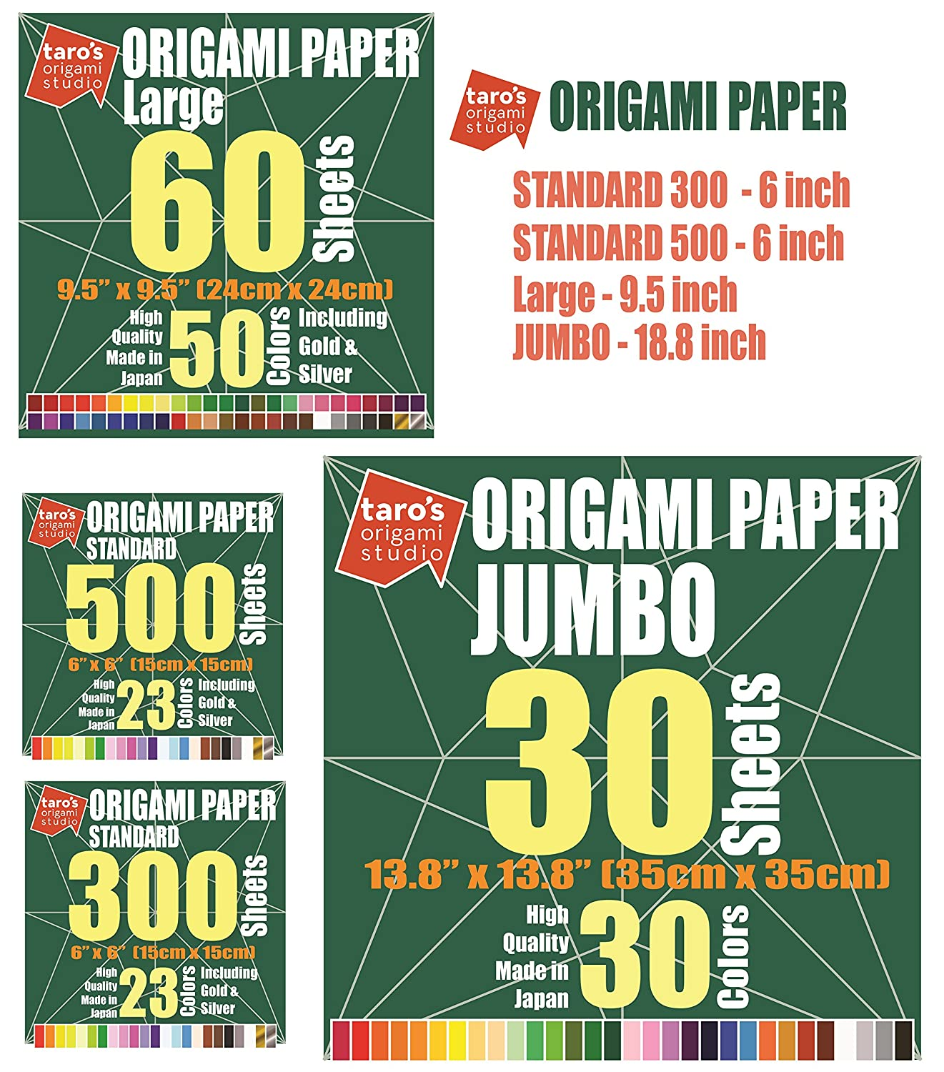 Taros Origami Studio Premium Japanese Origami Paper Large 9.5 inch Made in Japan 9.5 inch, 60 Sheets, Single Side 50 Colors Including Gold and Silver