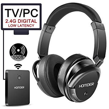 9063bf79eed Homder Wireless Headphones 2.4 GHz Wireless Rechargeable TV Headphones with  transmitter for TV PC/Cell
