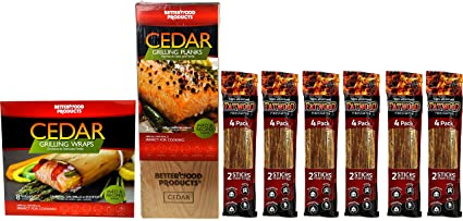 Outdoor Grilling Accessories Set - Bundle of 8 items: BetterWood Products Cedar Grilling Planks (