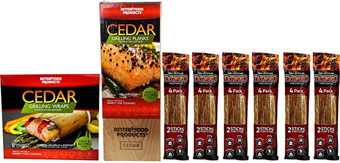 Outdoor Grilling Accessories Set - Bundle of 8 items: BetterWood Products Cedar Grilling Planks (2-Pack), BetterWood Products Cedar Grilling Wraps (8-Pack), ...