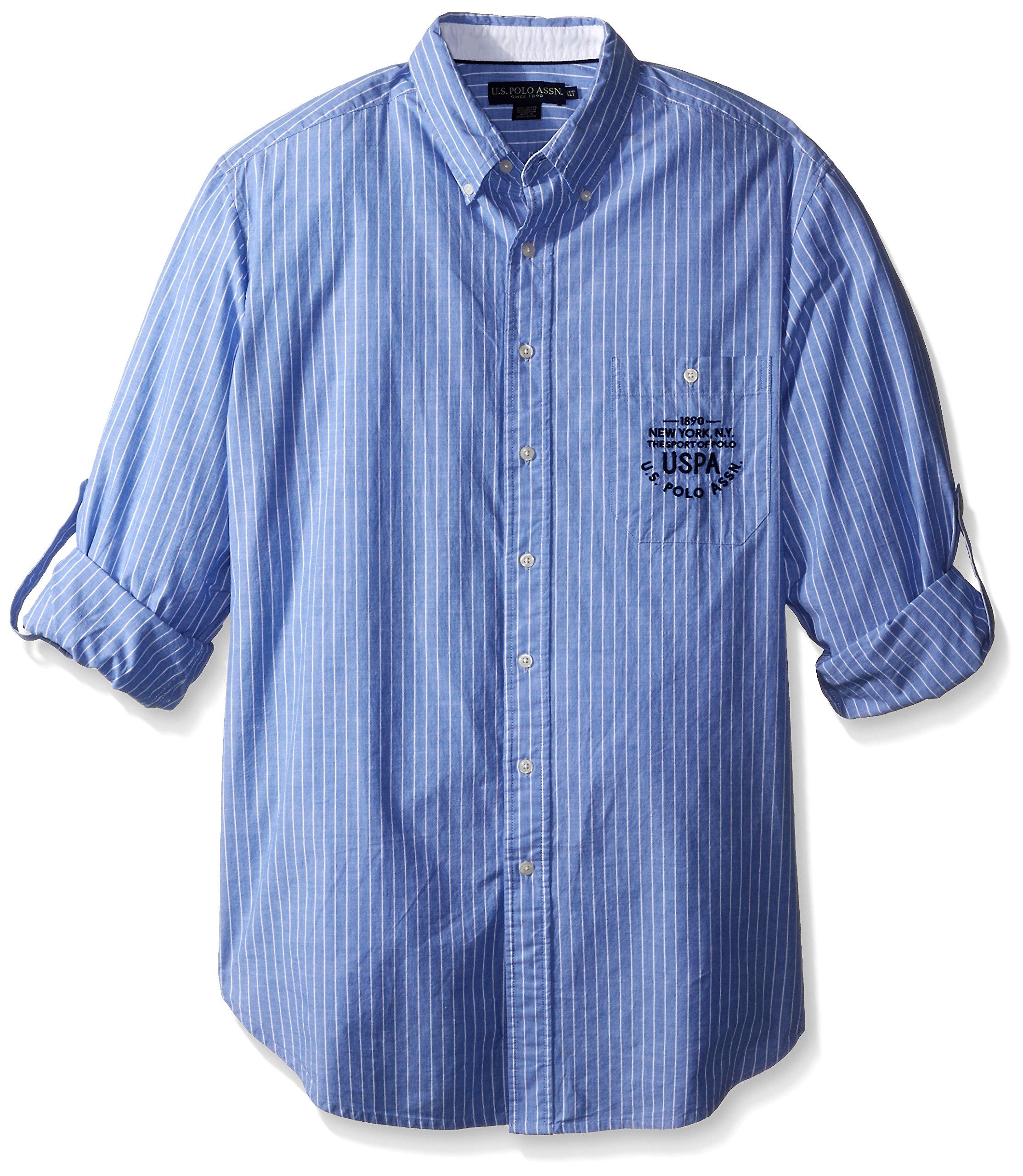 U.S. Polo Assn. Men's Big-Tall Button Down Slim Fit Striped Oxford Shirt, Wedding Blue, 3X