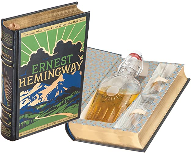 Mini-Bar Hollow Book with Flask & Shot Glasses - Ernest Hemingway (Leather-bound) (Magnetic Closure)