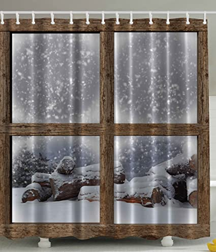 Ambesonne Rustic Winter Christmas Shower Curtain Snowy Woodsy Wooden Frame Window View Print For Lake