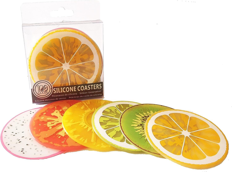 tomate y pi/ña Conjunto de 6 Kiwi naranja drag/ón fruta 100 Goods Silicona Fruit Slice Todas las condiciones meteorol/ógicas Posavasos 2015 edition sand/ía 3.5