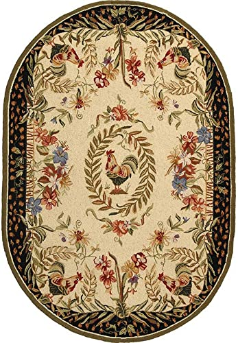 "Safavieh Chelsea Collection HK92A Hand-Hooked Cream and Black Premium Wool Oval Area Rug 7'6"" x 9'6"" Oval"