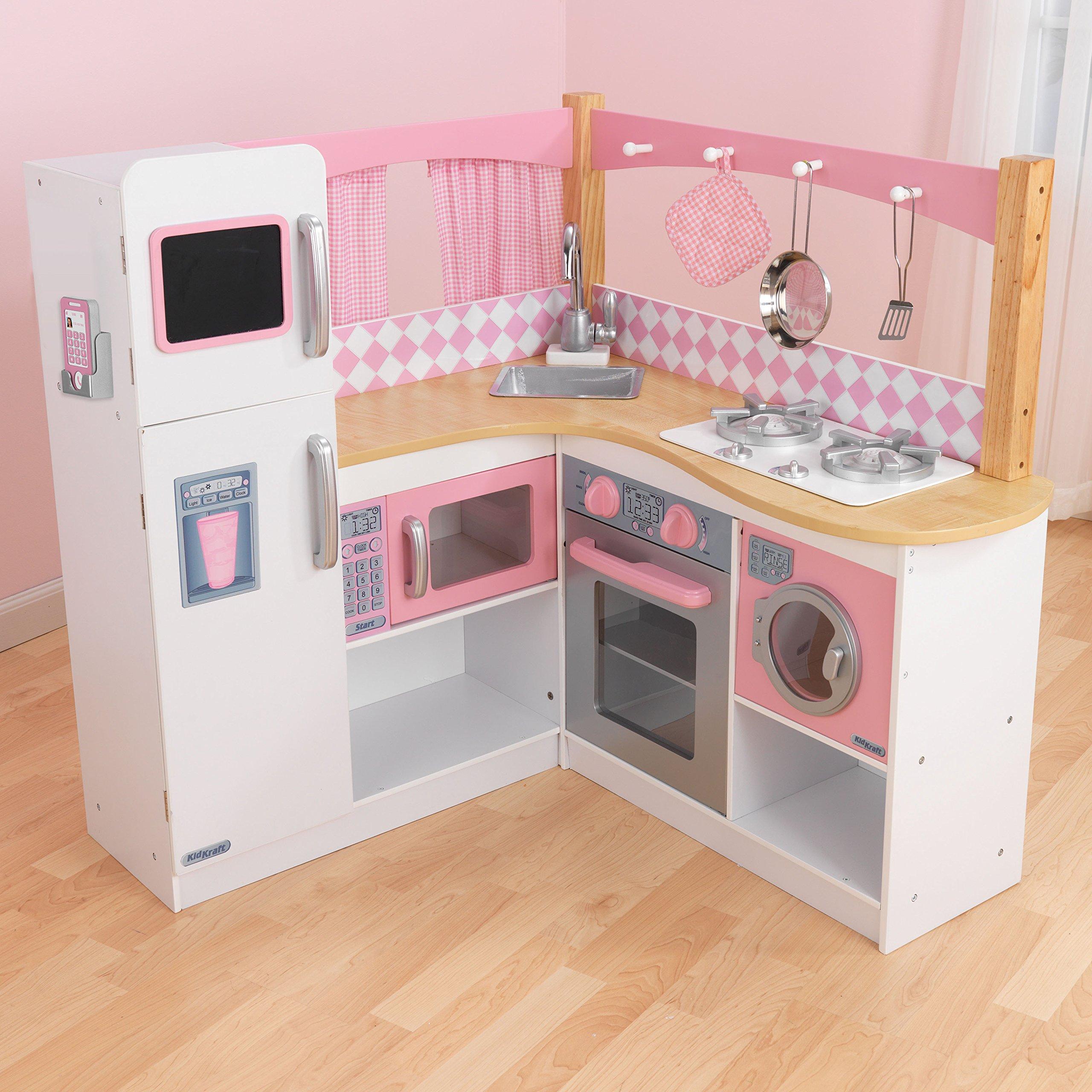 W// Chalkboard Metal Freezer Door KidKraft Corner Kitchen Playset Pink Detailed