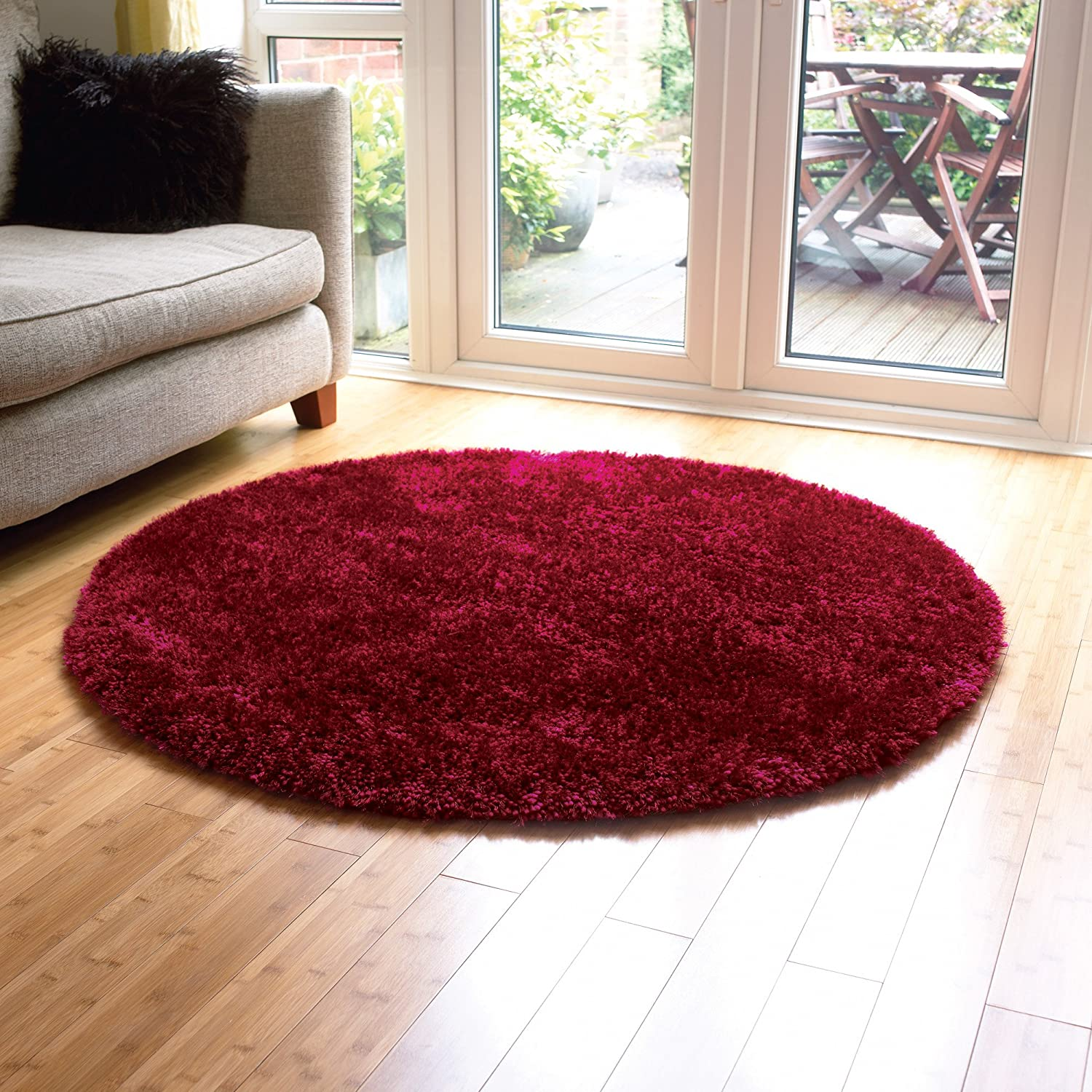 Large Modern Thick Shaggy Quality Plain Burgundy Round Rug In 135 X 135 Cm  (4u00274u0027u0027 X 4u00274u0027u0027) Carpet: Amazon.co.uk: Kitchen U0026 Home