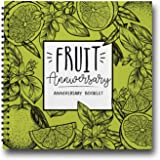 4 Years of Love, Fruit Anniversary Gifts For Him, from 2014 to 2018 Vintage Fruit & Flowers Wedding Present for Couples. Four Years Together Engraved Fruits Journal. Mother's Day Gifts 2018.