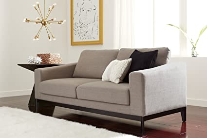 Elle Decor Olivia Loveseat, Fabric, Linen