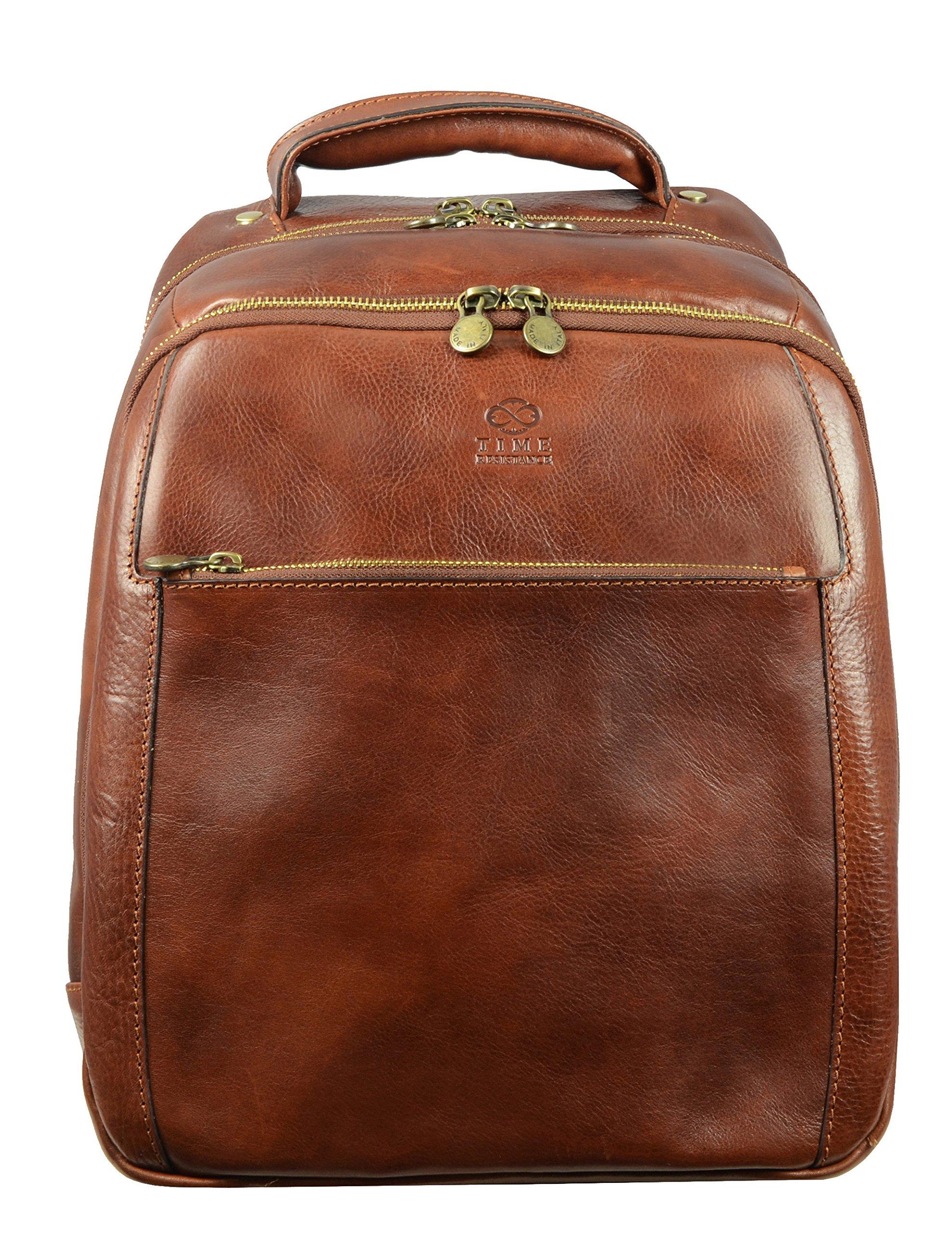 Full Grain Leather Backpack Rucksack School Bag Brown Medium Unisex - Time Resistance