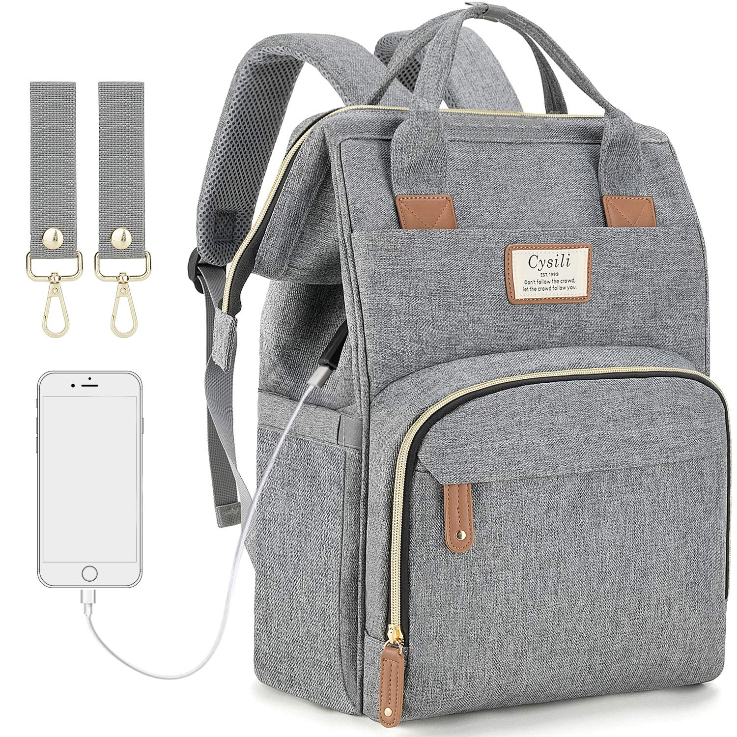 Diaper Bag Backpack with USB Charging Port and Stroller Straps, Maternity Nappy Bag with Insulated Feeding Bottle Pocket by FANCYOUT
