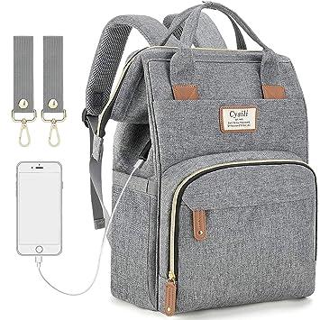 Amazon.com: Mochila para pañales con puerto de carga USB y ...