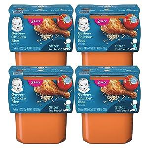 Gerber 2nd Foods, Chicken Rice Dinner, 4 OZ Tubs (2 CT/Pack) (Pack of 4)