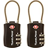 2 Pack TSA Approved Travel Luggage Locks 3 Dial Combination Cable Padlock For Suitcases Bags Gym Lockers (Black)