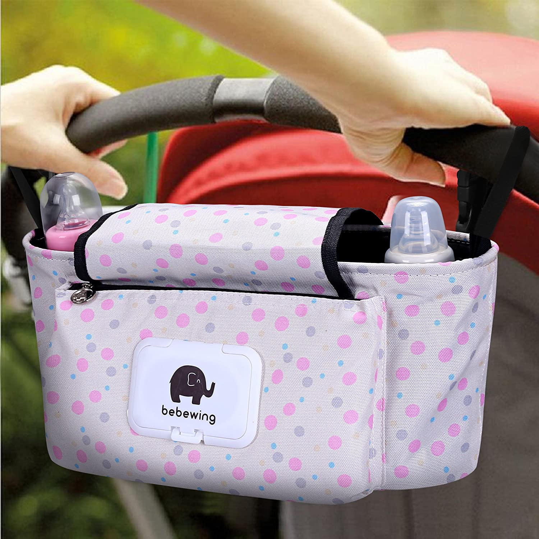 Wegeit Baby Stroller Storage Bag Diaper Tote Organizer, Stroller Pram Buggy Organizer Storage Bag, Diaper Bag Hanging Bottle Holder for Pushchair, with Velcro, Waterproof, Universal. (Pink spots) Chang You Bag
