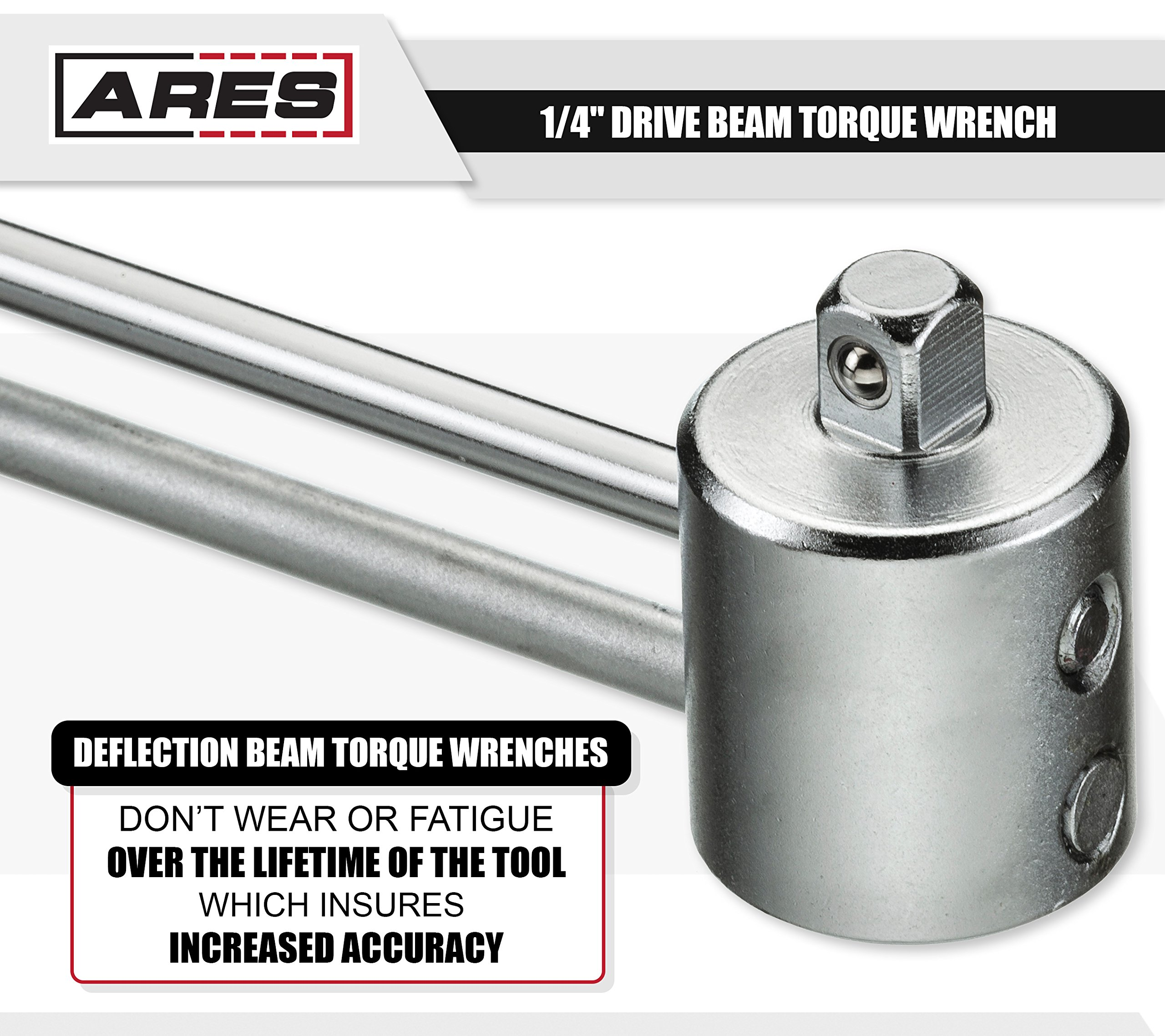ARES 70213 | 1/4-inch Drive Beam Torque Wrench | 0-80 in/lb and 0-9 Newton Meter Torque Wrench | High Visibility Markings for Easy Readings by ARES (Image #4)