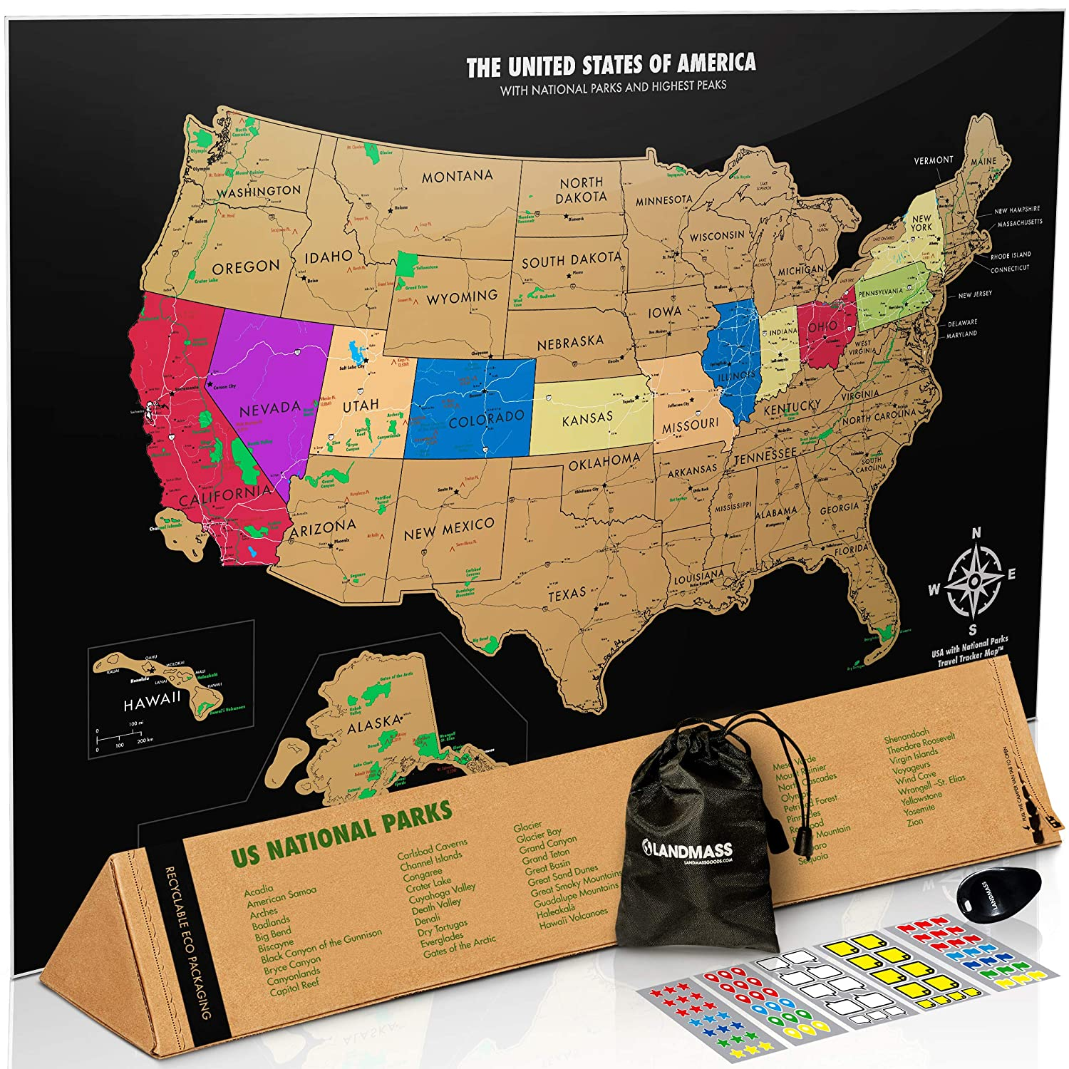 Amazon.com: Landmass 17x24 inches Scratch Off USA Map Poster with ...