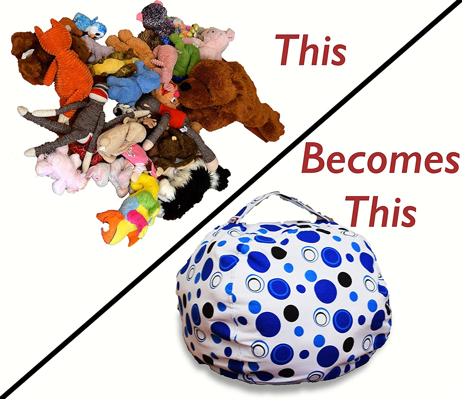 organize stuffed animals by putting them into a bag chair
