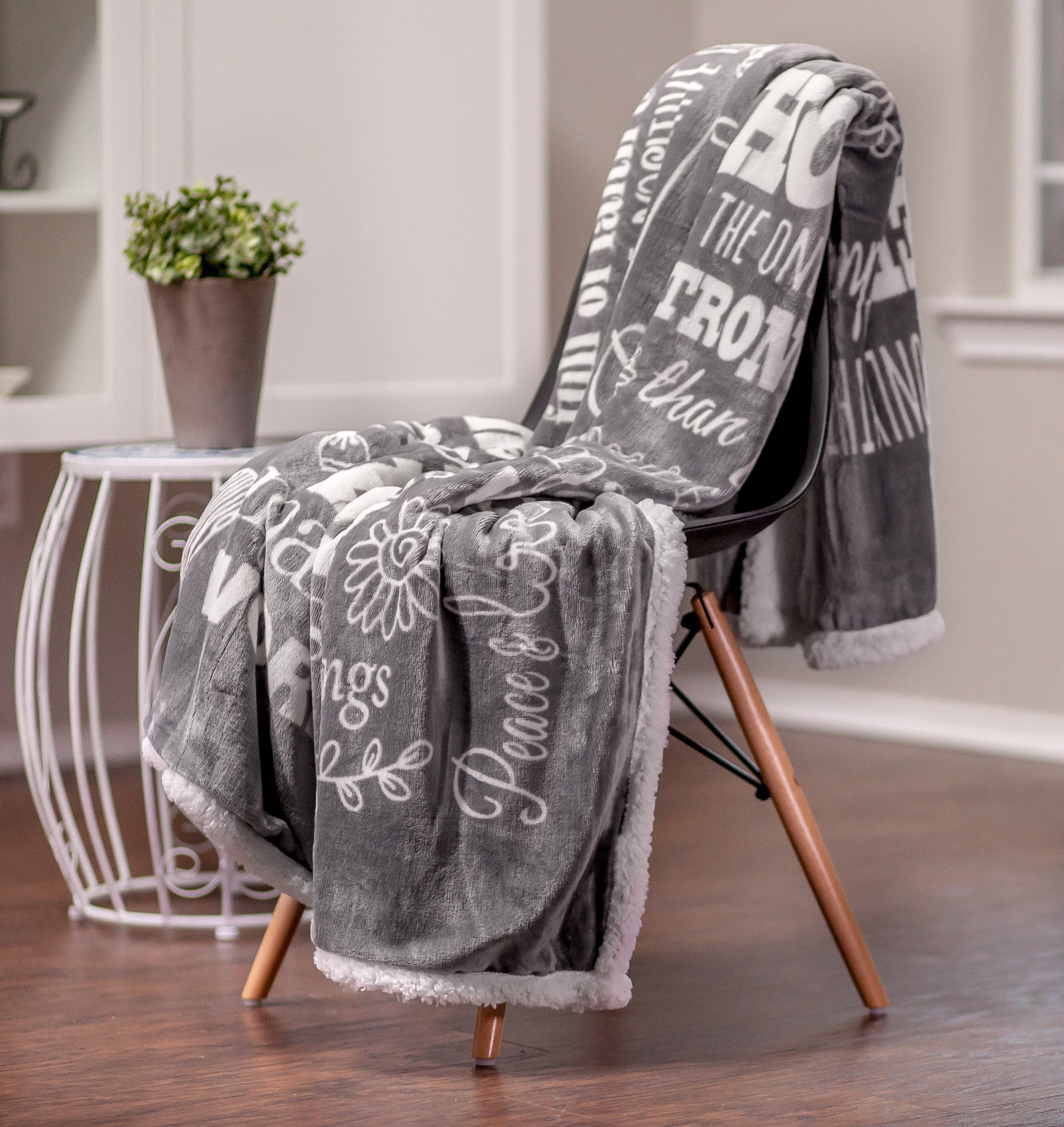 Chanasya Hope and Faith Inspirational Message Print Super Soft Ultra Plush Cozy Fleece Microfiber Sherpa Posivite Energy Comfort Caring Uplifting Gift Throw Blanket - for Women Men - Grey Blanket by Chanasya (Image #2)