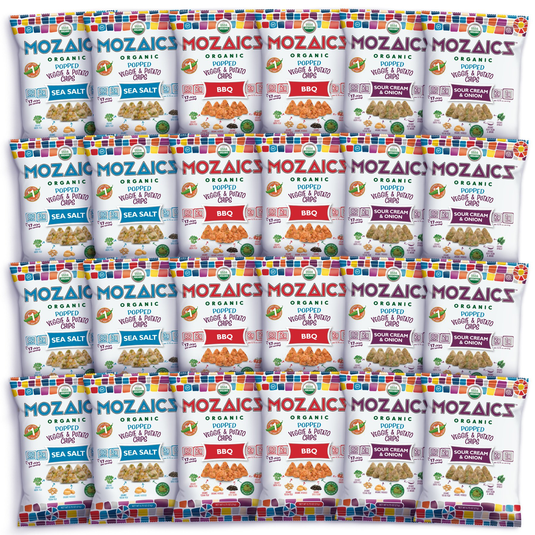 Mozaics Organic Popped Veggie & Potato Chips- Healthy snack~100 calorie snack, better than veggie straws or stix - gluten free - 0.75oz single serve bags (Best Sellers, 24-count) by Mozaics