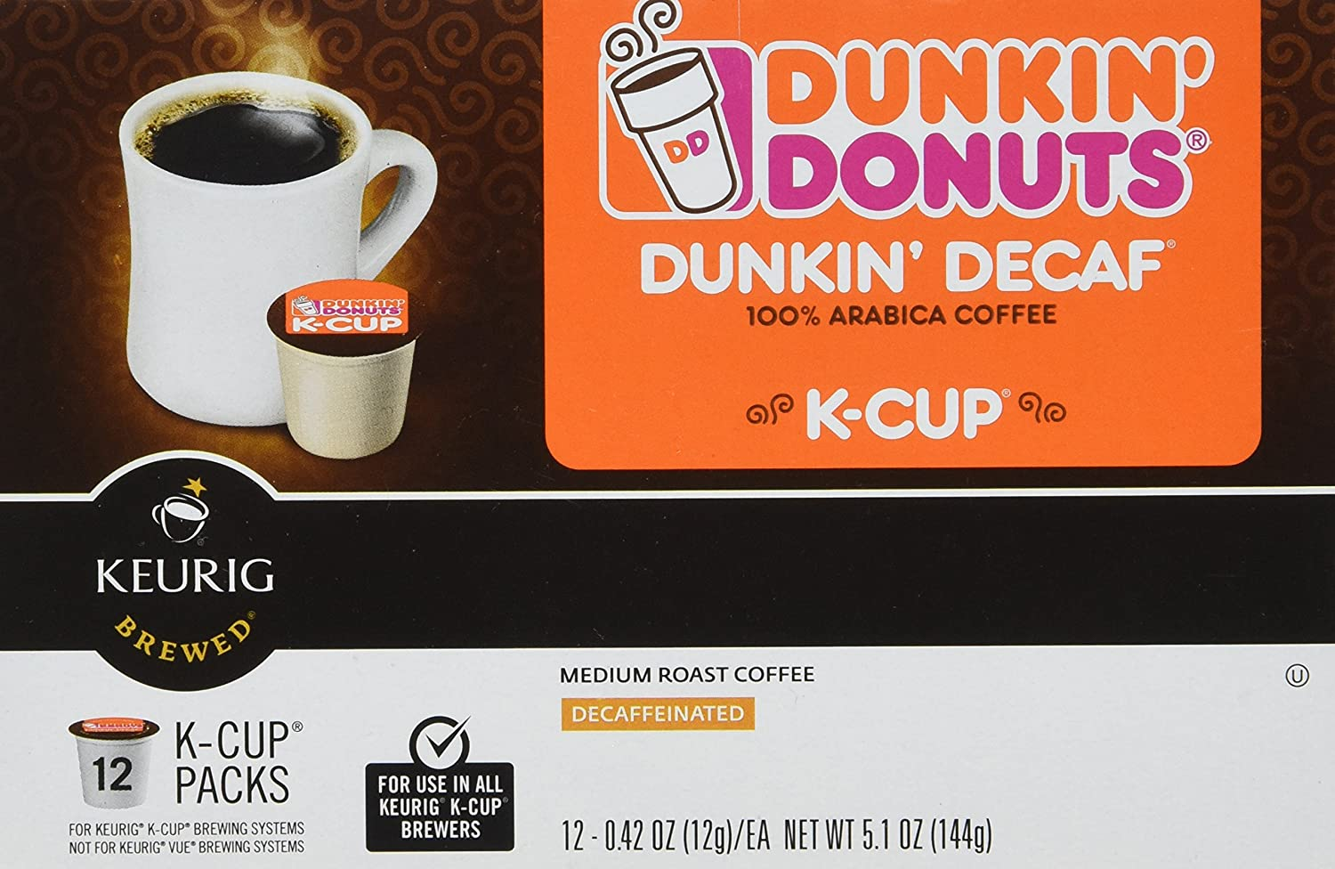 72c53484f84 Amazon.com : Dunkin Donuts K-cups Decaf - Box of 12 Kcups for Use in Keurig  Coffee Brewers 5.1oz : Grocery & Gourmet Food