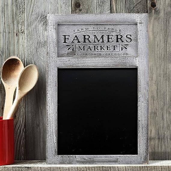 "Barnyard Designs Rustic Farmers Market Chalkboard Sign - Decorative Chalkboard Display Board for Restaurant, Kitchen, Home, Weddings and More 17"" x ..."