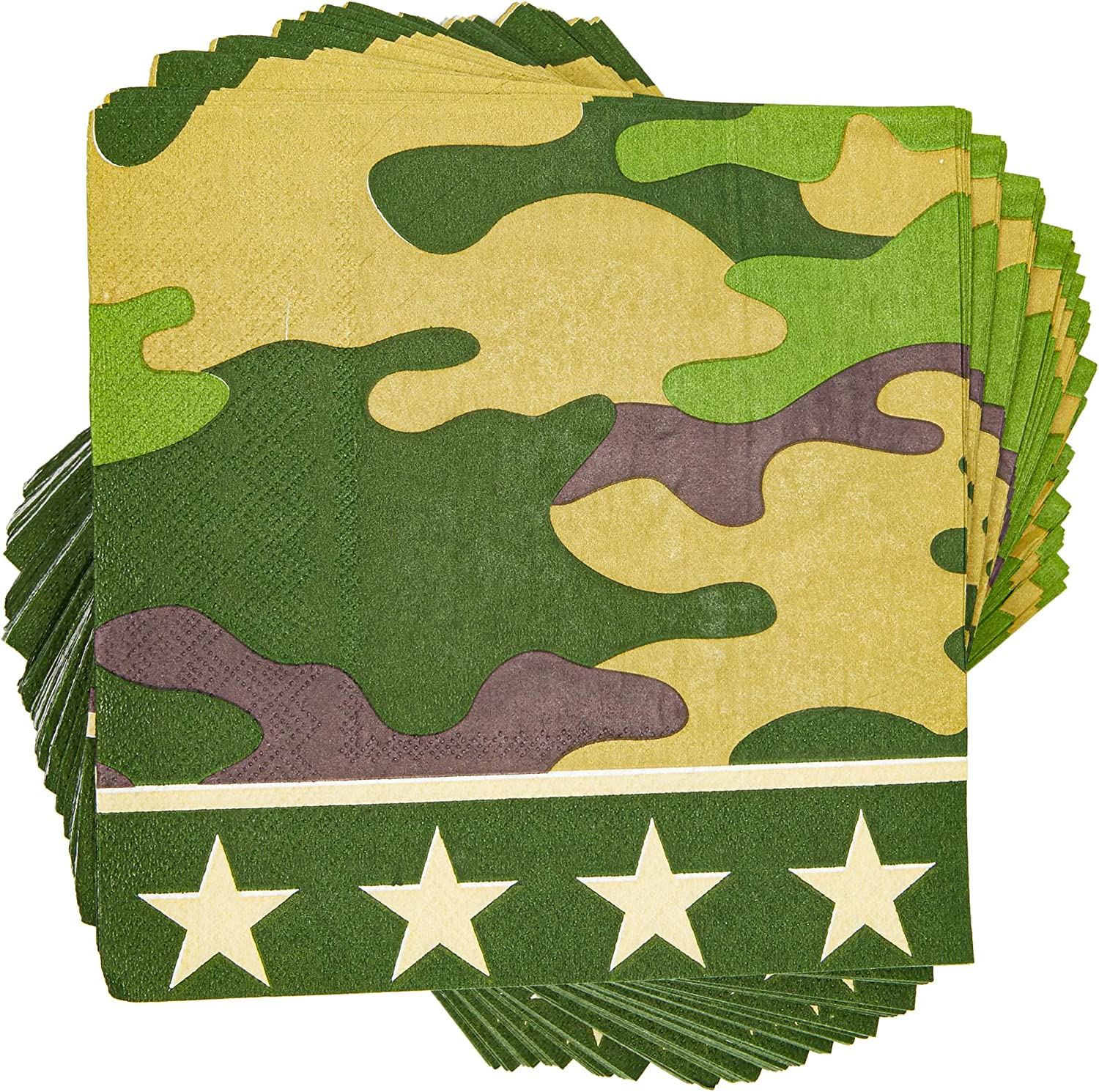 Green Paper Napkins for Camo Party (6.5 x 6.5 In, 100 Pack)