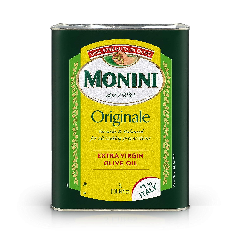 MONINI Premium Extra Virgin Olive Oil | Originale Versatile & Balanced | Tin Can | 101.4oz (3L)