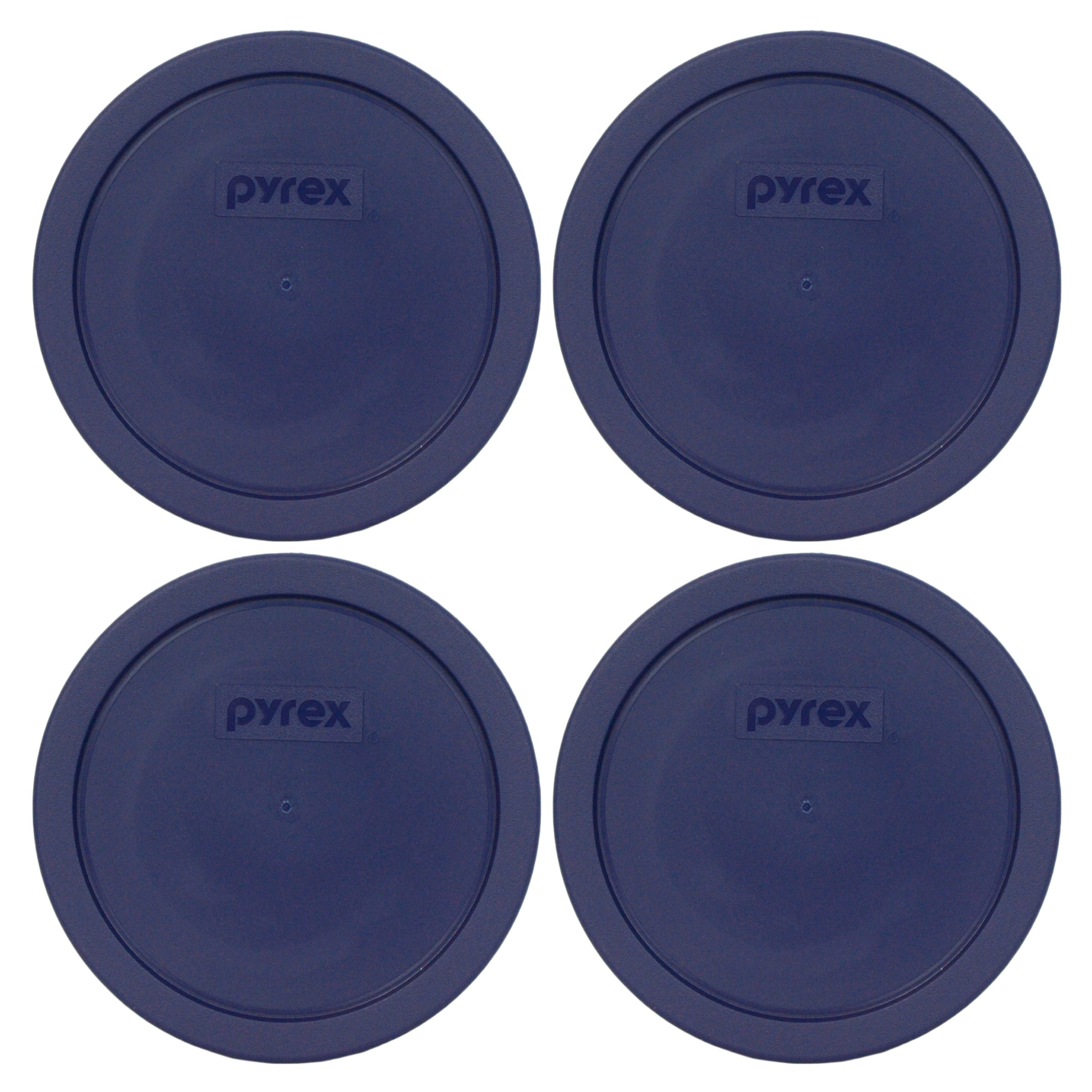 Pyrex Blue 3 Cup Round Storage Cover #7401-PC for Glass Bowls 4-Pack